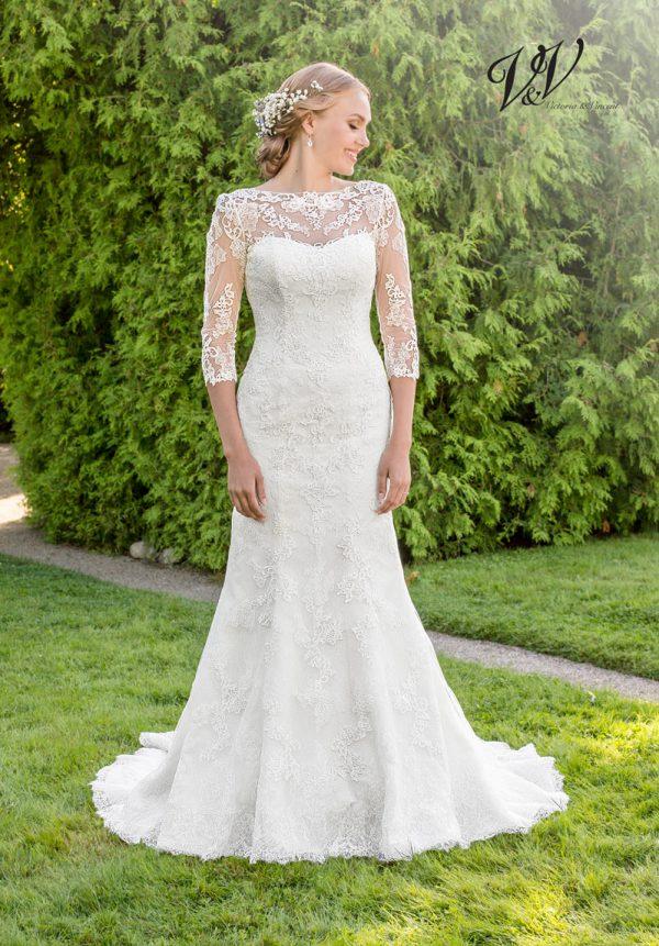 Ein Meerjungfrau-Hochzeitskleid mit langen Ärmeln