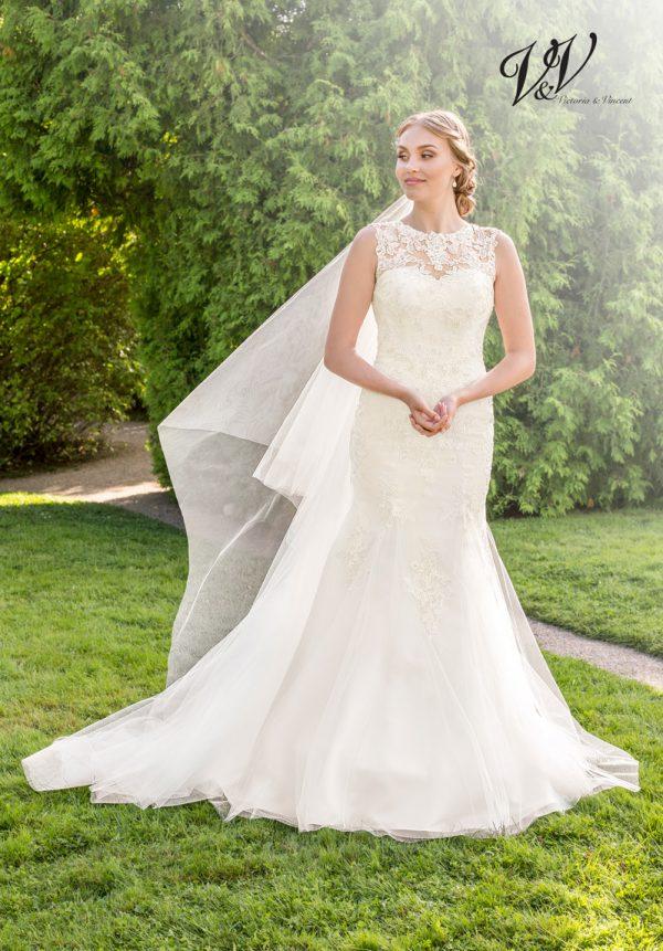 Ein wunderschönes Hochzeitskleid aus Spitze. Perfekt für einen traditionellen Auftritt.