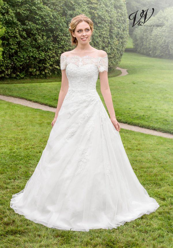 Ein Hochzeitskleid der A-Linie mit schulterfreien Ärmeln