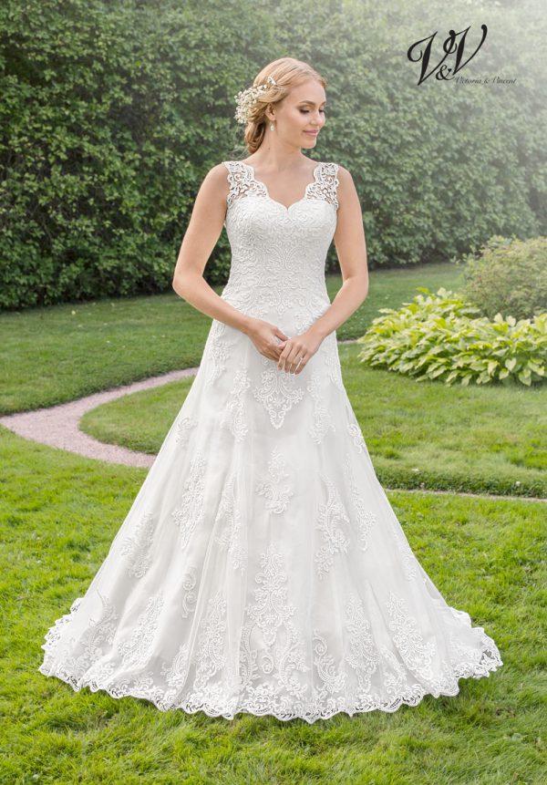 Ein Hochzeitskleid der A-Linie mit V-Ausschnitt, das Ihnen das Gefühl gibt, eine Prinzessin zu sein.