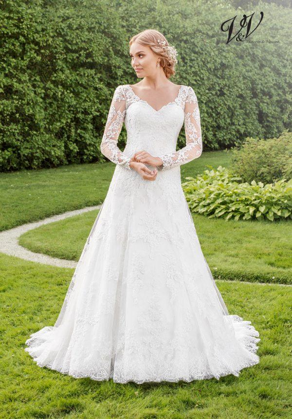Ein Hochzeitskleid der A-Linie mit langen Ärmeln. Sehr hochwertige Qualität der Spitze.
