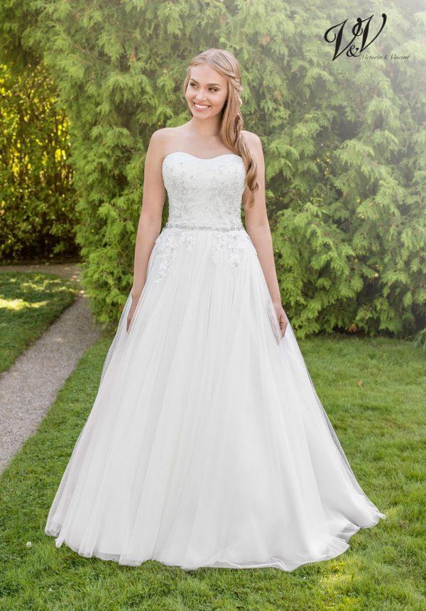 Ein Prinzessin-Hochzeitskleid mit geschnürtem Rücken.