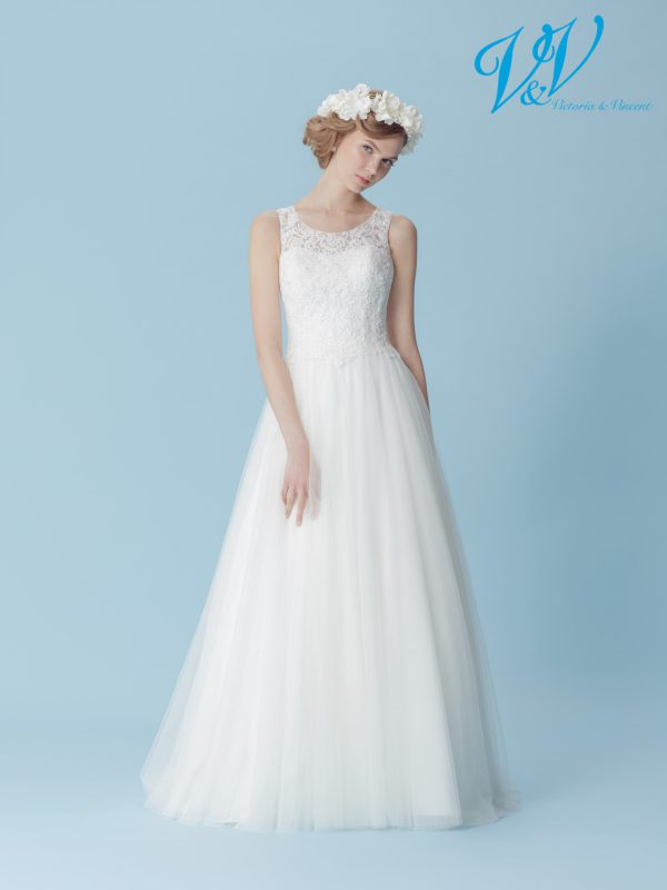 Ein Hochzeitskleid der A-Linie mit einem schönen, geschlossenen Rücken.