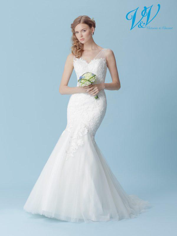 Ein Meerjungfrau-Hochzeitskleid mit einem sinnlichen, offenen Rücken.