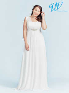 Ein schönes Brautkleid für große Größen mit geschnürtem Rücken. Sehr hochwertiger Chiffon.