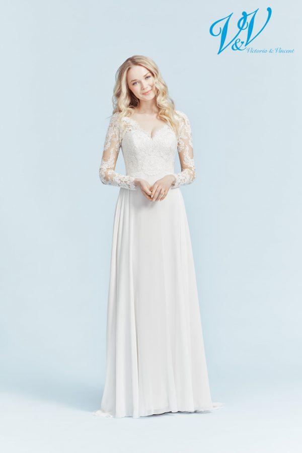 Ein Vintage-Hochzeitskleid mit langen Ärmeln. Sehr hochwertige Chiffon-Qualität.