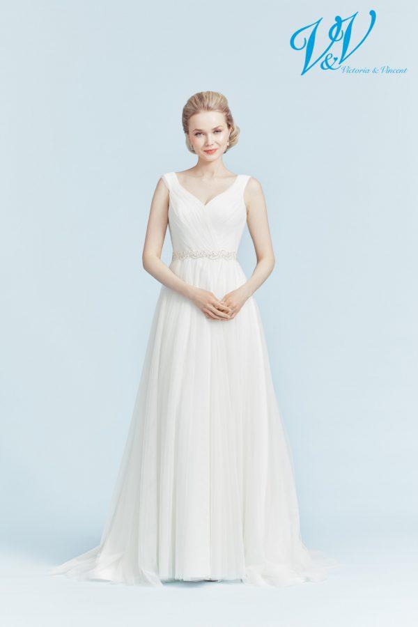 Ein Hochzeitskleid der A-Linie mit schönem Illusion-Rücken.