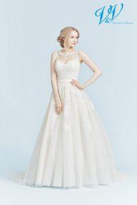 Hochzeitskleid der A-Linie mit Schlüsselloch-Rücken, in dem Sie sich wie eine Prinzessin fühlen.
