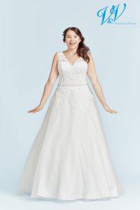 Ein Große Größen-Hochzeitskleid mit Schulterträgern. Sehr hochwertige Organza-Qualität.