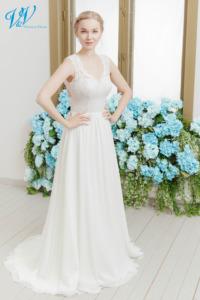 Eine klassische A-Line und ein Schlüsselloch Rücken. Das günstigste boho Brautkleid bester Qualität erhältlich. Das Hochzeitskleid im Bild hat Farbe ivory / nude / skin, dieses Kleid ist auch erhältlich in ganz ivory oder weiss.